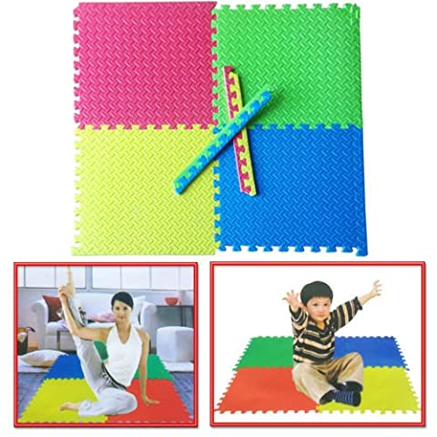 NEW 8 X INTERLOCKING EVA SOFT MULTICOLOURED MULTI - COLOURED COLOUR FOAM EXERCISE FLOOR MAT OFFICE HOUSE GYM BABY PLAY MATS -32 SQUARE FEET 32 SQ FT - PACK SET OF