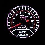 KKmoon 2 Zoll 52mm EGT Abgas Temp Meter Meter Weiß LED Auto Motor Universal Smoke Lens Indicator
