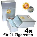 Lot de 4 étuis à cigarettes Couleur métal argenté Pour 21cigarettes Fermoir à cliquet