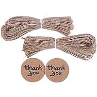 CCINEE etichette regalo, colore: marrone, 100 pezzi, ideale per matrimoni, etichette da regalo in carta (4 Round Etichette)