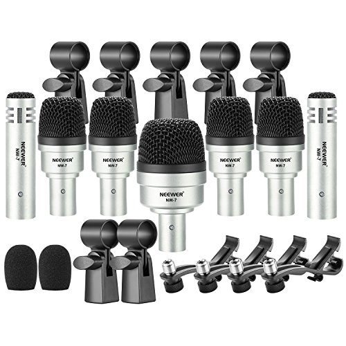 Neewer 7 Pieces Wired Drum Instrument Microphone Kit - Bass Drum/Tabour/Condenser Mic Set for Drums, Jazzy Drums, Vocal and Other Instrument with Thread Clip, Foam Windscreen and Aluminum Case (NW-7)