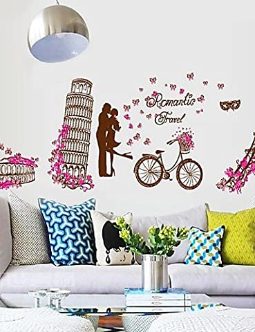 Wall Stickers Wall Decals, Romantic World Architecture Eiffel Tower PVC Wall Stickers