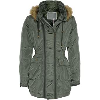 Womens Double Zip Up Padded Military Coat