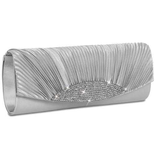 CASPAR ausgefallene Damen Satin Clutch/Abendtasche mit Strassbesatz - viele Farben - TA289, Farbe:silber
