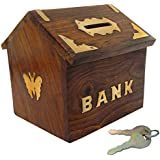 VISHAL INDIA CRAFT Mart Handicraft Wooden Piggy Bank for Kids and Adults (Brown)