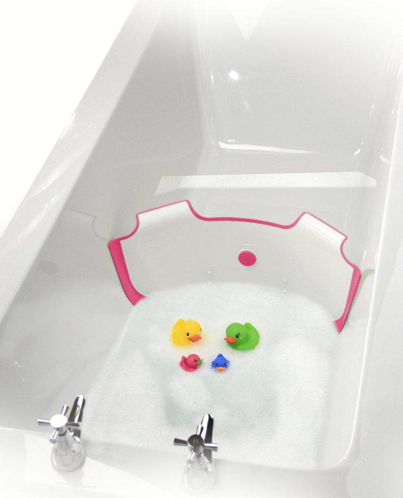 ** New ** BabyDam Bathwater Barrier | Baby Bath Tub | Converts A Standard Bath to A Baby Bath (White|Pink)…