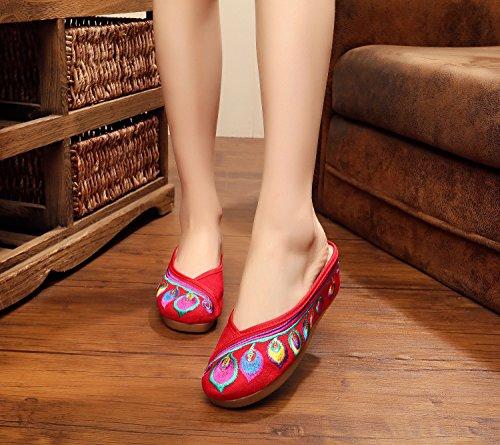 DESY scarpe ricamate, unico tendine, stile etnico, femmina flip-flop, moda, comodi, aumento sandali Red