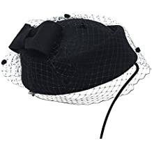 Lawliet Womens lana tocado Retro pastillero sombrero fieltro de lana cóctel fiesta boda Arco velo