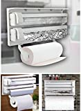 Anzl 3 in 1 Multipurpose Use Kitchen Triple Paper Roll Dispenser & Holder for Kitchen Tissue Paper Roll, Aluminum Foil and Plastic Wrapping Film / Cling Film