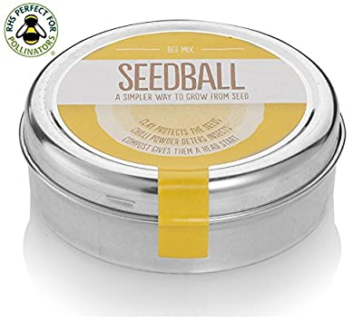 Bee Mix Seed Balls - Wildflower Mix Great for Bees! Flowers Recommended by The Bumblebee Conservation Trust. Flora Locale accredited and made in the UK. 1000 seeds per tin. **GREAT GARDENING GIFT!**