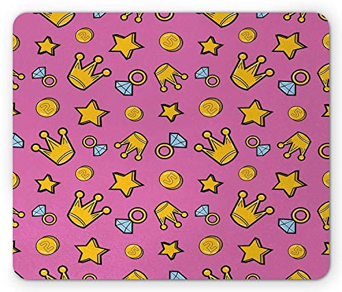 ro Cartoon Pattern of Coins Crowns and Rings on Fuchsia Backdrop Gaming Mousepad Office Mouse Mat Pale Blue Fuchsia Yellow ()