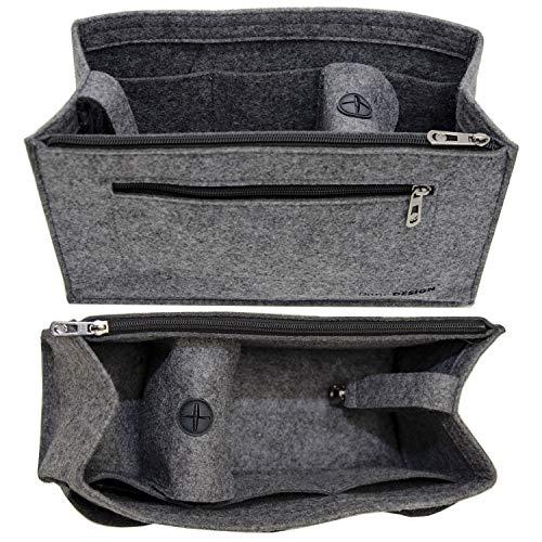 DuneDesign Handtaschen Organizer 36x12x22cm Filz Tasche Einsatz XL Innentasche Grau