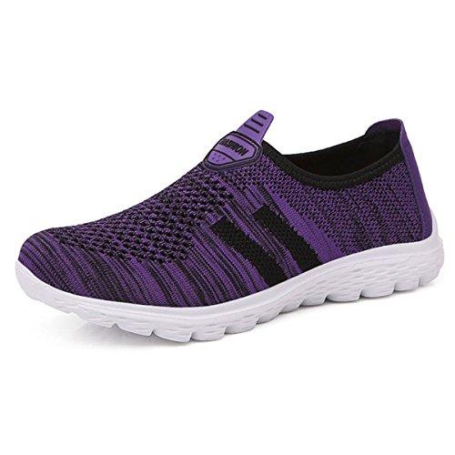 JIANKE Chaussures de Course Running Femme Fitness Légère Sport Basket sans Lacets Homme(Violet,38)
