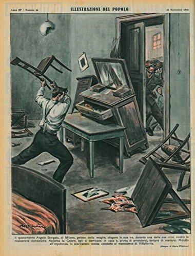Il quarantenne Angelo Borgato, di Milano, geloso della moglie, sfogava la sua ira, durante una delle sue crisi, contro le masserizie domestiche. Accorsa la Celere, egli si barricava in casa e, prima