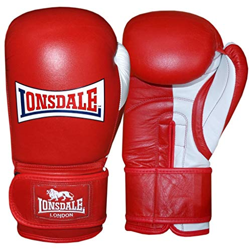 Lonsdale Erwachsene Pro Safeboxhandschuh, rot/Weiß, 18 oz