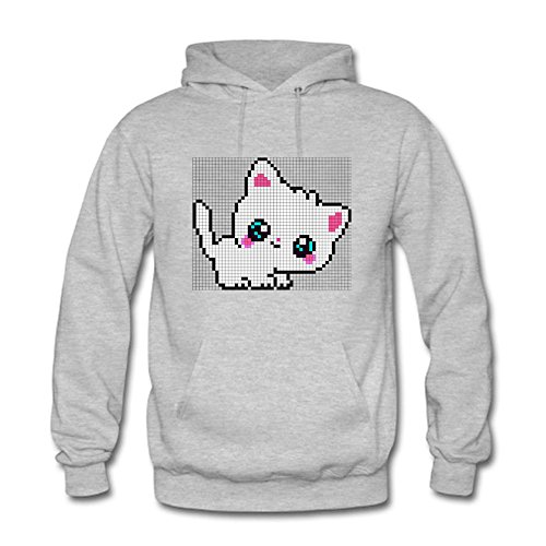 qianyishop Classic Pullover Hooded Sweatshirt - Women's Creative Cartoon Cute White Cat Prints Pattern Casual Long Sleeve Tops Gray XL