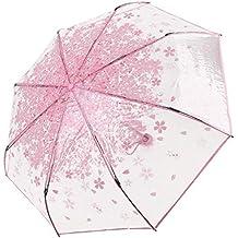 Paraguas plegable Westeng, resistente a los rayos UV, transparente y ligero, rosa,