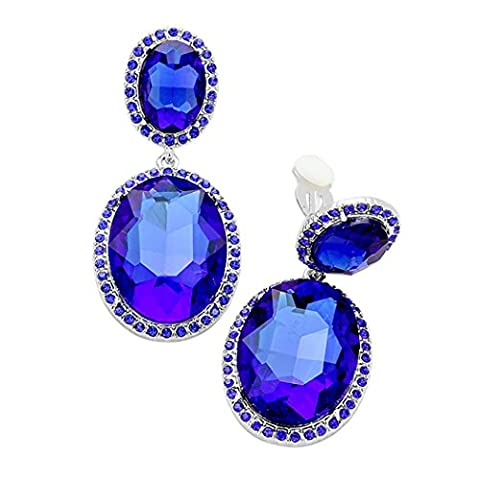 Rosemarie Collections Women's Double Oval Crystal Evening Clip On Earrings (Silver Tone/Blue)