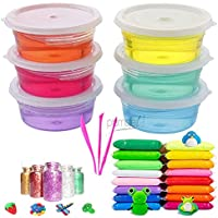 Promote Trader DIY Jelly Kit with 6 Crystal Slime and 12 Air Dry Clay Combo with Free Glitter and Tools for Kids Boys…