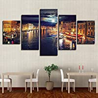 ASDZXC Home Decorations Hd Canvas Prints Poster Framework 5 Pieces Water City Night Scene Paintings Wall Art Boat Pictures Living Room