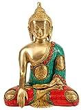 Statue de Bouddha assis, Laiton Métal Corail...