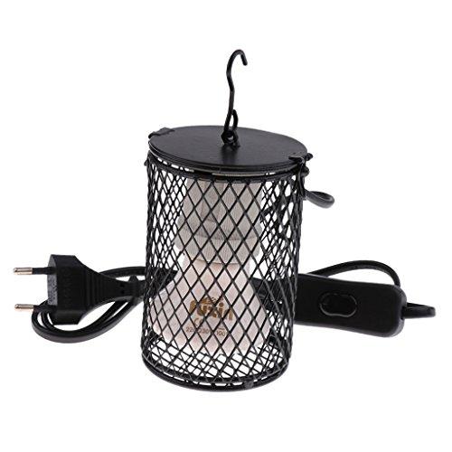 non-brand Sharplace Terrarium E27 Wärmelampe Wärmestrahler Heizstrahler mit Anti-Hitze Schutzkorb für Reptilien Schildkröte Eidechse usw. - Schwarz-100W