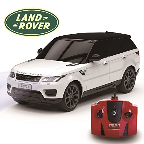 Range Rover Sport Official Licensed Remote Control Car for Kids with Working Lights, Electric Radio Controlled On Road RC Car 1:24 Model, 27Mhz White, Great Toy for Girls and Boys