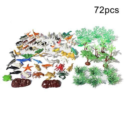 0Miaxudh Modell Spielzeug, 72 Teile/Satz Mini Dschungel Tier Baum Figuren Pretend Play Modelle, Kinder Bildung Spielzeug 72pcs