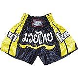 "Duo Gear - Pantaloncini da Thai Boxe e arti marziali ""Chok dee"", Ragazzi, Duo Chokdee Muay Thai, Black, XS"