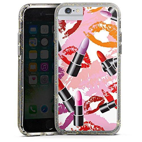 Apple iPhone 6s Bumper Hülle Bumper Case Glitzer Hülle Lipstick Lippenstift Pattern Bumper Case Glitzer gold