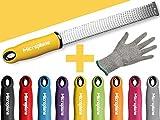 Microplane Premium Classic Zester Reibe fein schwarz rot gelb blau lila pink + Prymo Schutzhandschuh Farbe Gelb