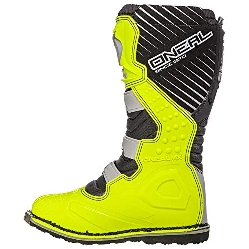 O'Neal Rider Boot MX Cross Stiefel Grau Gelb Hi-Viz Motorrad Enduro Motocross Offroad, 0329-9, Größe 43 - 3