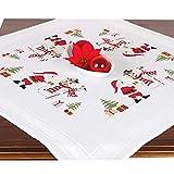 Stickpackung WINTERTREFFEN, komplettes vorgezeichnetes Kreuzstich Tischdecken Set, Winter Stickset mit Stickvorlage für Erwachsene, Sticken zur Adventszeit und Weihnachten