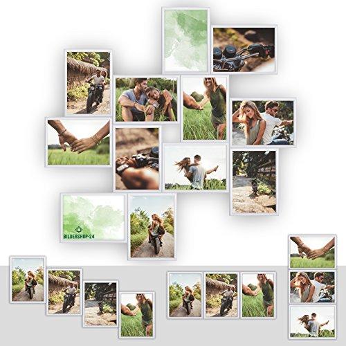 Kunststoff Bilderrahmen Fotorahmen Collage zum inidividuellen gestalten 12x 13x18cm Weiß mit Normalglas und Klammern