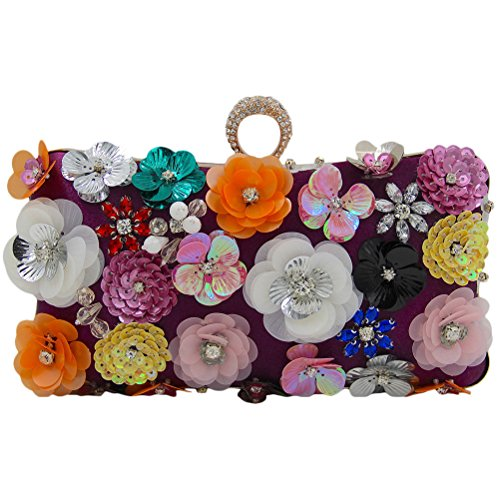 Zhhlaixing bellissime borse Multicolor Unique Flowers Beads Embroidery Evening Buns Handbags Designer Bags Handbags Bride Pack per Donne Purple