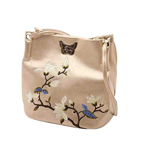 YAANCUN Damen Freizeit Schultertasche PU Leather Umhängetaschen Klein Henkeltasche Handtasche Shopper Tasche mit Bestickt Blumenmuster Champagner