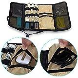 Plegable bolsa de viaje organizador Electronics accesorios para cable USB de batería recargable para bebé kit de asistencia sanitaria ajuste para teléfono disco duro portátil Wrap Digital bolsa de almacenamiento azul