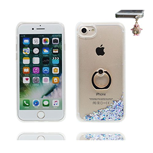 "iPhone 7 Coque, Étui Cover pour iPhone 7 4.7"", Bling Glitter Fluide Liquide Sparkles Sables Shell iPhone 7 Case 4.7"", perceptible Résistant à la poussière Scratch ring Support & Bouchon anti-poussière # 5"