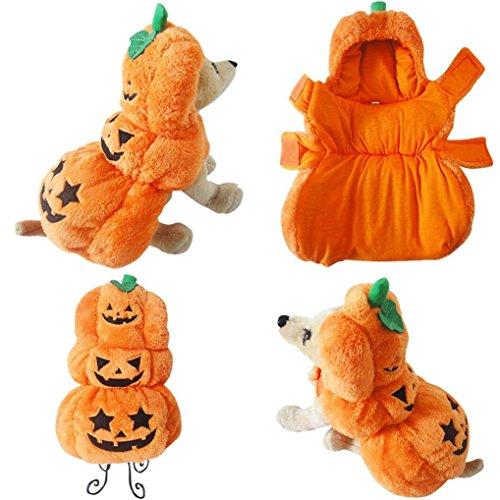 Upxiang Halloween-Kürbis-Hundekleidung, Halloween-Kostüm-Kleidung, Haustier Cosplay, Hund Winter Kostüm-Kleidung, Hundekleidung Hundemantel Hundejacke Hundepullover, für kleine und große Hund (XL, Kürbis)
