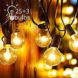 Cadena de Luz Demum G40 de 25FT E12 Base Guirnalda Luces con 25 Bombillas G40 para Jardín Patio Trasero Fiesta Adornos de Navidad (3 Bulbos de Repuesto) [Clase de eficiencia energética E]