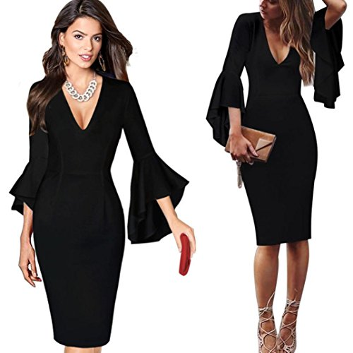 Druck-knie-länge-kleid (Internet Damen Deep V-Ausschnitt Flare Bell Langarm Büro Party Bodycon Kleid (XL, Schwarz))