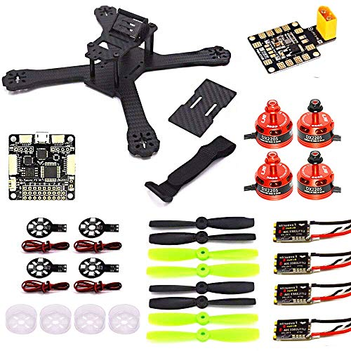 LHI X210 Carbon Fiber FPV Race Quadcopter Frame (4MM) + DX2205 2300KV Brushless Motor + Littlebee 20A Mini ESC + F3 regolatore di Volo Consiglio 6DOF + LED Board + Guardia Motor Protector