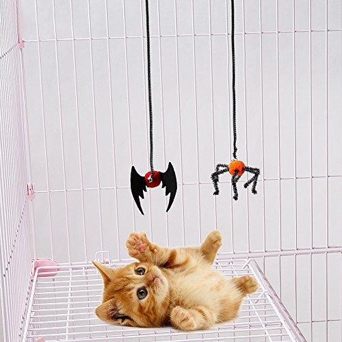 tze Kätzchen Spielzeug Fledermaus Spinne Design Flying Finger Pet Spielzeug, Pet Kleine Kugel mit Glocken und Frühling, Seil Spielen ()