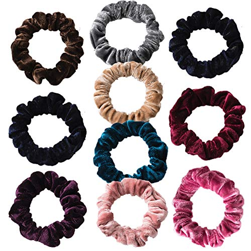 Haargummis, 10 Stück, Samt, elastisch, für Mädchen und Damen, weich, elegante Haarschleife, Pferdeschwanz-Halter, bunte Haargummis, weiche Haarbänder