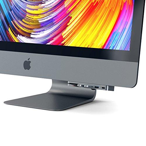 Satechi Aluminium Typ-C Klammer Hub Pro mit USB-C Datenanschluss, 3 USB 3.0 Anschlüssen, Micro/SD Kartenlesegerät für Das 2017er iMac und iMac Pro (Space Grau)