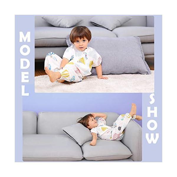 i-baby Saco de Dormir Bebé con Pies Verano Infantil Pijama Manta con Mangas Cortas Algodón Gasa Niños Cómodo…