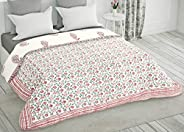 BLOCKS OF INDIA Hand Block Printed Cotton King Size Quilt/Rajai (90 inch X 108 inch) (Pink & RED Pais