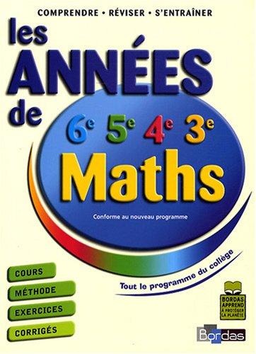 Maths (6e, 5e, 4e, 3e) : Les années de collège