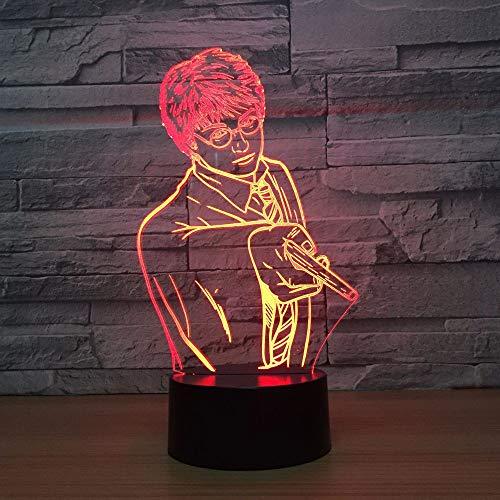 Lixiaoyuzz 3D Nachtlampe Kreative Usb 7 Farben Ändern 3D Vision Männlichen Lehrer Modellierung Schreibtischlampe Led Klassenzimmer Atmosphäre Dekor Baby Schlaf Nachtlicht