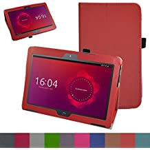 "bq Aquaris M10 Funda,Mama Mouth Slim PU Cuero Con Soporte Funda Caso Case para 10.1"" bq Aquaris M10 FullHD FHD HD / Aquaris M10 Ubuntu Edition Android Tablet,Rojo"